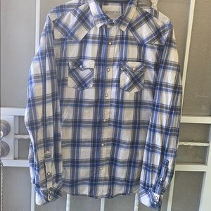 Aeropostale Blue Plaid White Snap Buttons